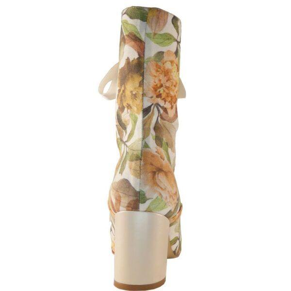 Botines tacon ancho flores
